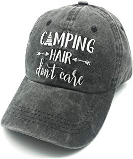 Embroidered Unisex Camping Hair Don't Care Vintage Washed Dyed Cotton Adjustable Baseball Cap Dad Hat