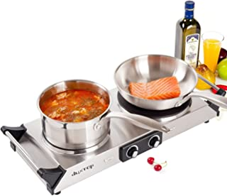 Duxtop Hot Plates Double Cast-Iron Burner Portable Electric Stove Cooktop with Adjustable Temperature Control, 1800W, Metal Housing, Indicator Light (Double)