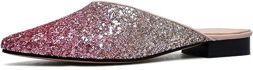AJUNR Moda elegante Transpirable Sandalias Hausschuhe sugerencia Baotou degradado Farbe champán base plana