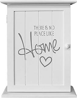Wohaga® Armario para llaves (Box colgador para llaves (pared armario – 'There is no place like home', 22 x 29 x 8 cm, con 6 llaves Ganchos, color blanco