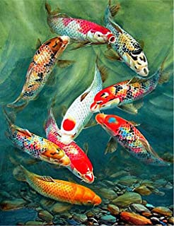 Diy Oil Paint by Number Kit for Adults Beginner 16x20 Inch - Koi Fishes,Drawing with Brushes Christmas Decor Decorations Gifts (Framed)