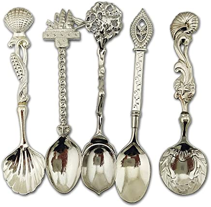 559f126aad Autohome Retro Dessert Coffee Small Beauty Spoons Alloy Flatware 5 Pack  -Silver
