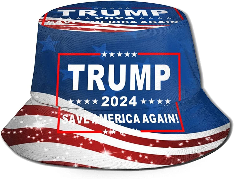 Trump-2024 Save America Again! Unisex Bucket Hat Packable Summer Travel Beach Sun Hat Outdoor Fisherman Caps Black
