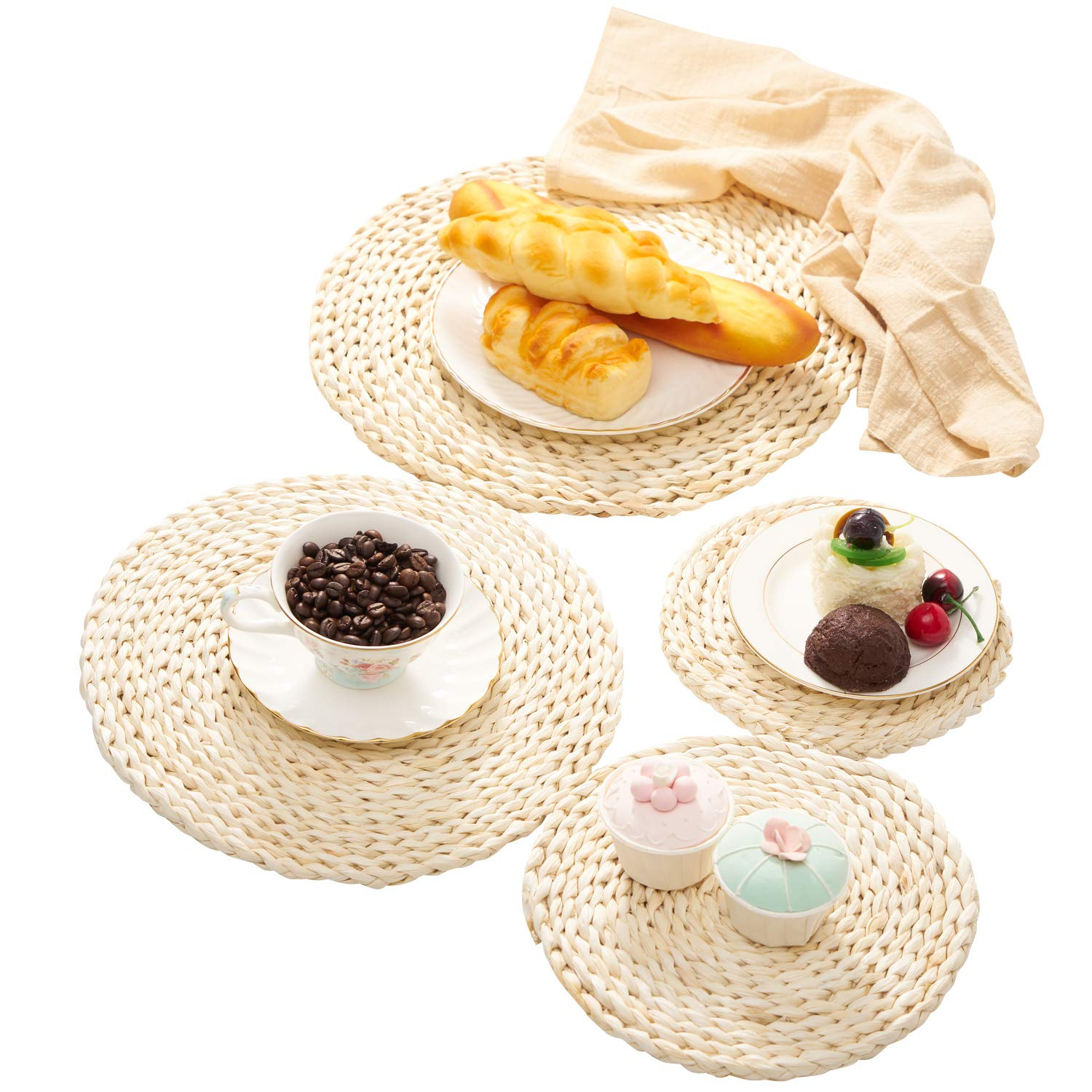 Corn Straw Braided Dining Table Mats 4pcs Round Woven Placemats Natural Handmade Extra Thick Coasters Mat For Cup Pot Heat Resistant Hot Insulation Reusable Anti Skidding Pad Assorted Size Buy Online In Bermuda