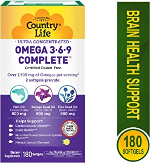 Country Life Ultra Concentrated Omega 3-6-9, 180-Softgels