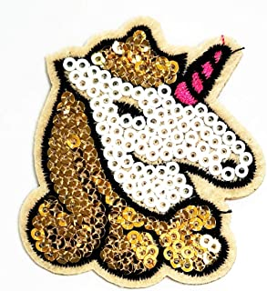 Nipitshop Patches Head Hair Gold Unicorn Horse Sequin Shine Shiny Cartoon Logo Kid Baby Boy Jacket T Shirt Patch Sew Iron on Embroidered Sign Gift Costume