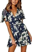 Angashion Women's Floral Short Sleeve Wrap V Neck Ruffle Mini Dress with Belt