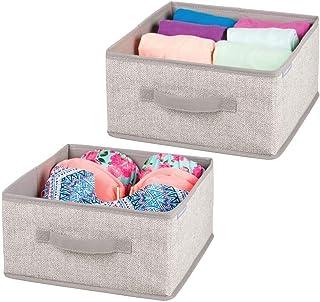 mDesign corbeille de rangement en tissu (lot de 2) – organiseur de penderie avec design façon lin – accessoire de rangemen...