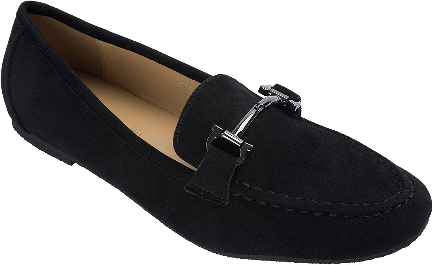 Womens Faux Suede Classic Horsebit Loafer Moccasin