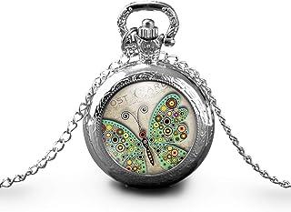 """Collana orologio da taschino - orologio da tasca, cabochon farfalle""""la cartolina"""", Regalo di Natale - idea regalo - regalo..."""