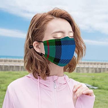 SESLEBE Scottish Clan fergusson Ferguson Tartan Plaid Adult Cloth face mask Reusable Protective Equipment, with Filter to Pre