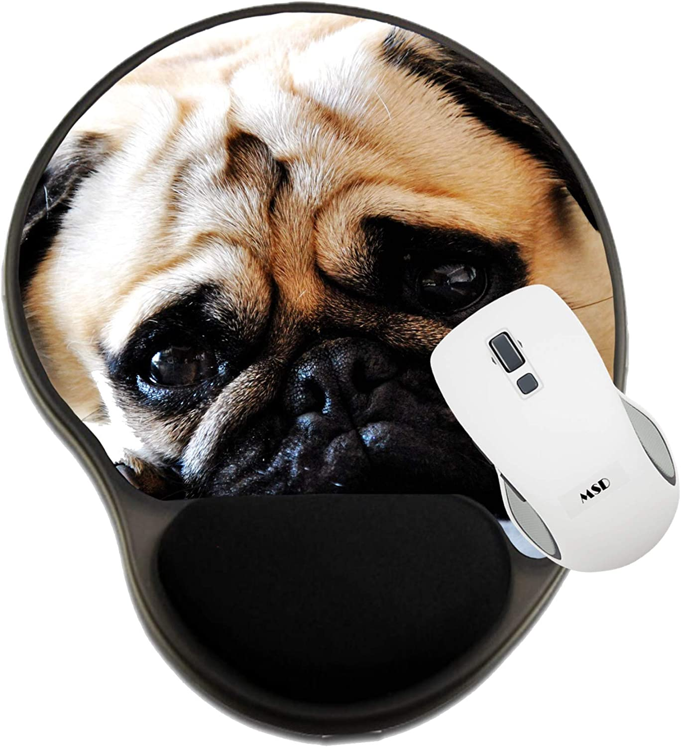 Mat with Wrist Support 20332037 Pug Lying on The Sofa Looking at The Camera Image ID MSD Mousepad Wrist Rest Protected Mouse Pads