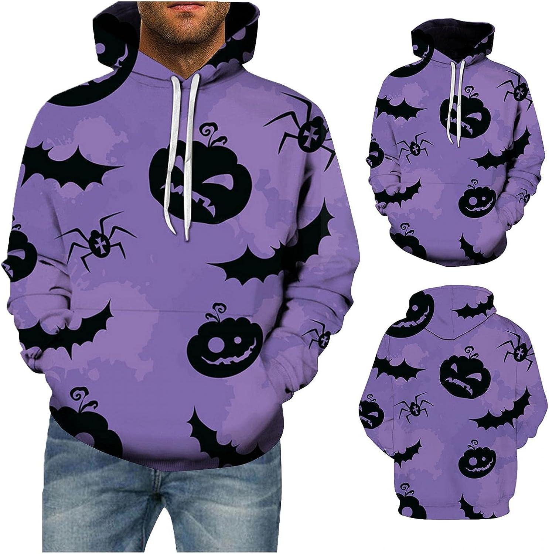 Halloween Graphics Hoodies for Men Drawstring Hoodies Mens Pullover Loose Long Sleeve Sweatshirts Tops Coat