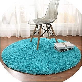 Fluffy Round Rug Carpets for Living Room Decor Faux Fur Carpet Kids Room Long Plush Rugs for Bedroom Shaggy Area Rug Modern Mat,Blue,Diameter 100cm