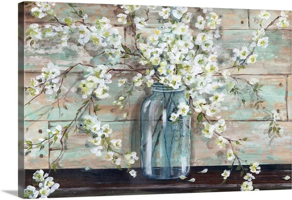 Blossoms Gorgeous in Mason Jar Canvas Art Print Artwork Opening large release sale Wall
