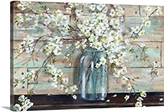 Blossoms in Mason Jar Canvas Wall Art Print, 30