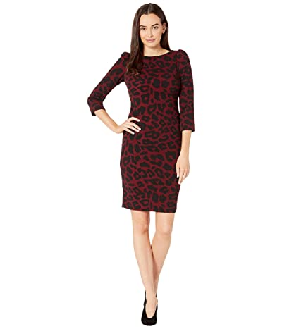 Calvin Klein Animal Print Sheath Dress (Black/Rosewood) Women