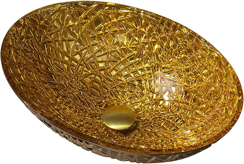 SHUGUANG Lavabo de Vidrio, Ovalada Lavabo Cristal Oro Lavamanos Cristal Baño, Lavabo sobre Encimera para Baño con Anillo de Montaje, Drenaje de Agua, 500×355×155mm,Single Sink