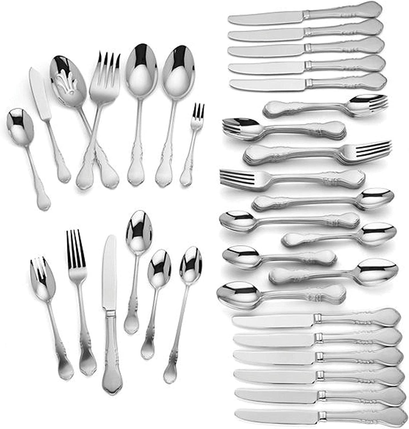 Lenox Wescott 82 Piece Flatware Set Service For 12 Stainless Steel 18 10 includes Hostess set