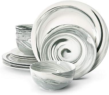 Divitis Home Fusion Porcelain Dinnerware Set 12 Piece, Black Round Plates (Soup Bowls, Dinner Plates, Salad Plates), Dish Set