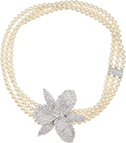 Ceola Triple Strand Pearl Necklace with Orchid Motiff
