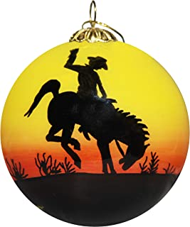 Art Studio Company Hand Painted Glass Christmas Ornament - Rodeo Cowboy at Sunset Texas