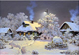 DIY 5D Diamond Painting Kits for Adults Full Drill Embroidery Paintings Rhinestone Pasted DIY Painting Cross Stitch Arts Crafts for Home Wall Decor 40x50cm/15.7x19.6Inches (Snow Village)
