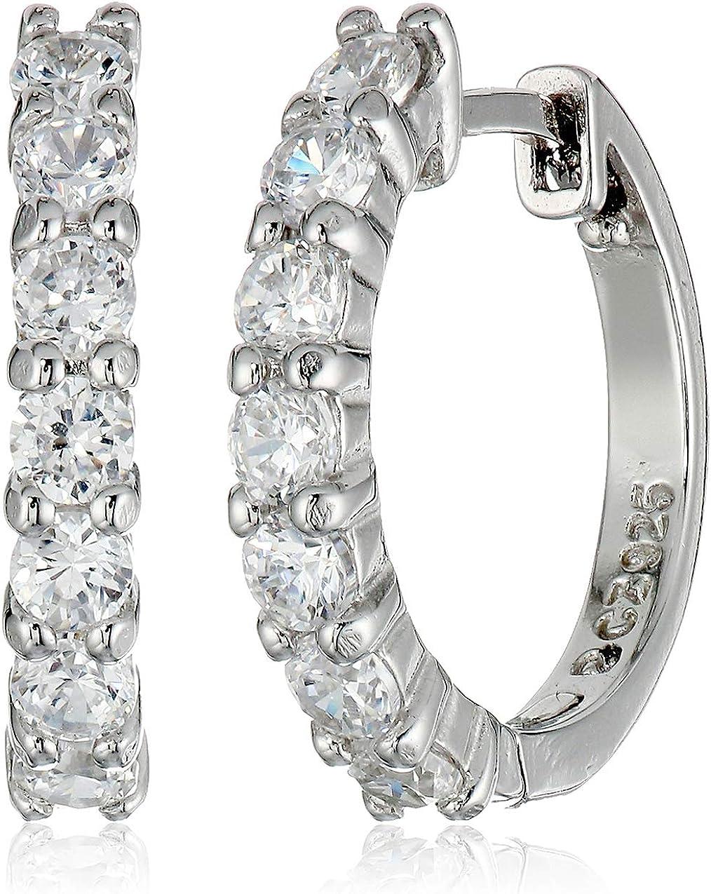 Stainless Steel Black w//Crystals Huggie Hoop Earrings 14484