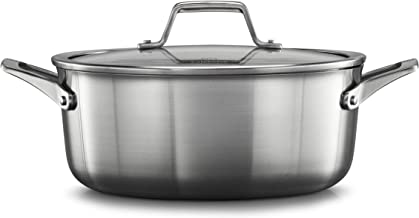 Calphalon 2029622 Premier Stainless Steel 5-Quart Dutch Oven with Cover, 5 QT Silver