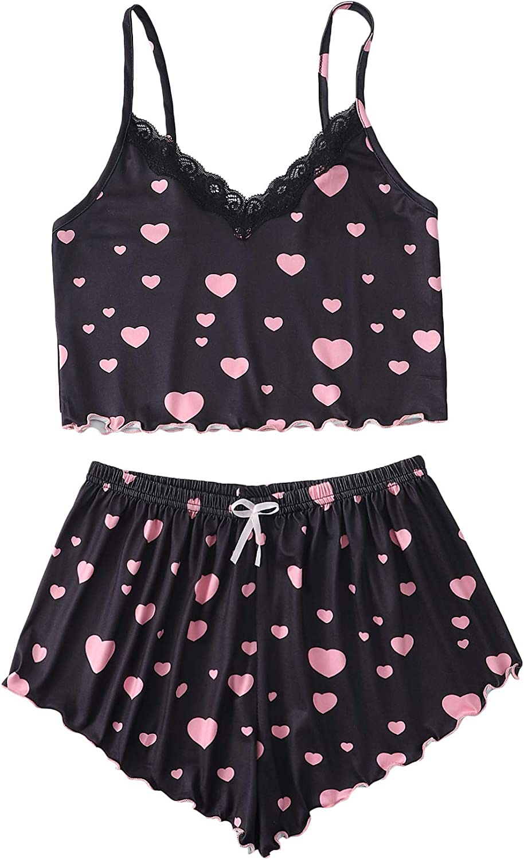 Verdusa Women's Sleepwear Lace V Neck Cami Top & Shorts 2 Piece Lounge Pajama Set Black