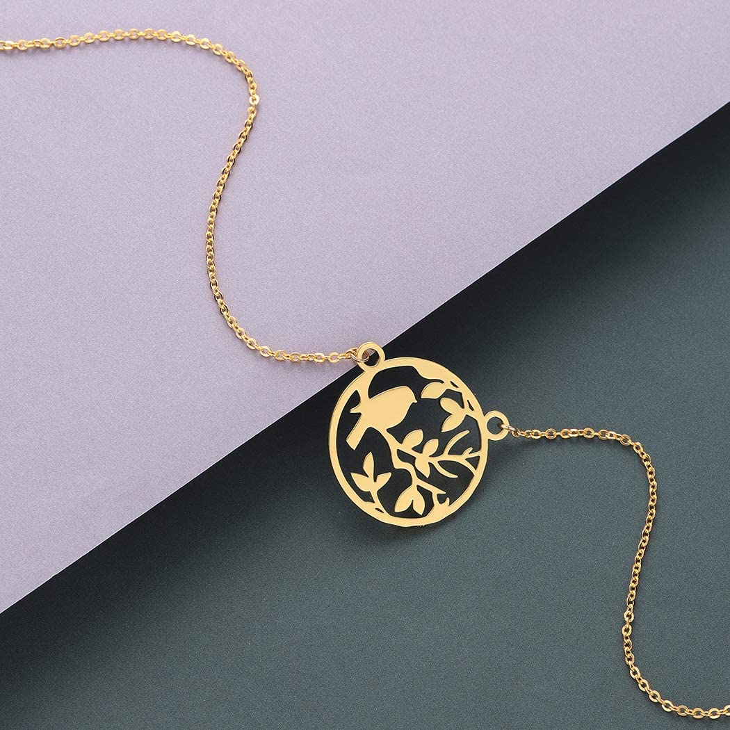 QIAMNI Leaves Animal Bird Pendant Necklace Round Circle Necklace Collars Souvenir Lovers Charm Birthday Gift