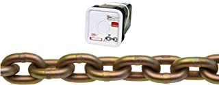 """Campbell 0510626 System 7 Grade 70 Carbon Steel Transport Chain in Square Pail, Yellow Chromate, 3/8"""" Trade, 0.41"""" Diameter, 45` Length, 6600 lbs Load Capacity"""