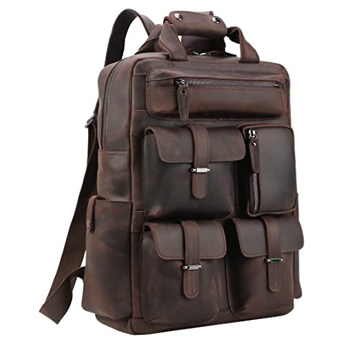 7fddc51e84 Polare Mens Handcrafted Real Leather Vintage Laptop Backpack Shoulder Bag  Travel Bag Large