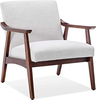 Belleze Mid Century Retro Modern Fabric Accent Chair Upholstered Wood Frame Armchair, Light Grey