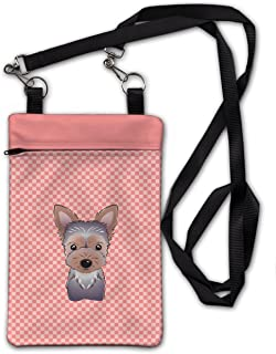 Caroline's Treasures BB1232OBDY Checkerboard Pink Yorkie Puppy Crossbody Bag Purse, 6 1/2 x 9 1/2