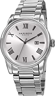 Akribos XXIV AK1056 Stainless Steel Designer Men's Watch – Link Bracelet Strap, Date Window, Curved Edge Vintage Dial, Sporty and Elegant Wristwatch
