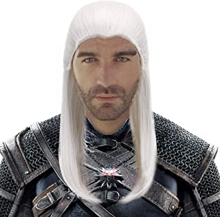 White Long Straight Cosplay Geralt Wig-Man Synthetic Game Anime Hair Wigs for Party Costume Halloween