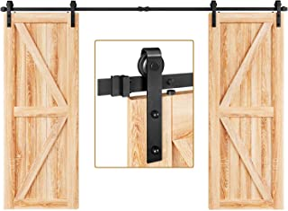 "EaseLife 10 FT Double Door Sliding Barn Door Hardware Kit,Heavy Duty,Ultra Hard Sturdy,Easy Install,Slide Smoothly Quietly,Fit Double 30"" Wide Door (10FT Track Double Door Kit)"