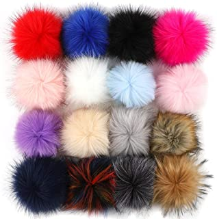 Outuxed 16pcs 5 Inches Colorful Faux Fox Fur Pom Poms for Hats with Rubber Band Fluffy Pom Poms for DIY Hat Knitting Scarf Keychain Bag Accessories (16 Assorted Colors, 12cm)