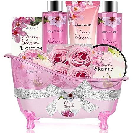 Coffret Bain et Corps-Panier-Cadeau de 8 Pièces au Parfum de Fleur de Cerisier et de Jasmin, Coffret Cadeau Parfait pour les Femmes et la fête des mères
