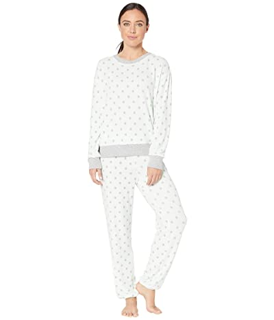 Splendid Brushed Jersey Long Sleeve PJ Set (Mint Green Textured Polka Dot) Women