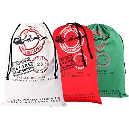Merry Christmas Packaging Bag Xmas Gifts Bags Square Tote Pouch Santa Sacks