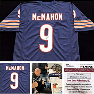 Authentic Autographed Jim Mcmahon Autograph Blue Football Jersey JSA COA Chicago Bears Qb