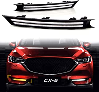 KE-KE Dual Color Double Row strip LED White DRL Daytime Running Light/Amber Dynamic Sequential Turn Signal For 2017 2018 2019 Mazda CX-5 CX5 accessories