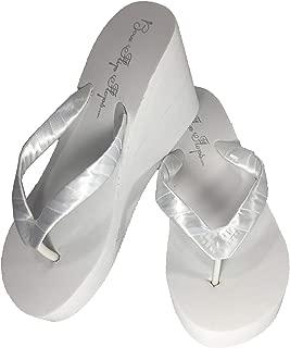 Wedge Wedding Flip Flops White Ivory 3.5 inch Heel- Satin Bride Bridesmaid Sandals