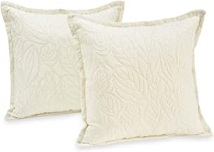 "Klear Vu Katelyn Chenille Textured Flower Decorative Throw Pillows, Filled with CloudFill, 20"" x 20"", Set of 2, Ivory"