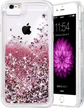 iPhone 6/6S/7/8 Case, Caka iPhone 6S Glitter Case with Tempered Glass Screen Protector Bling Flowing Floating Luxury Glitter Sparkle Soft TPU Liquid Case for iPhone 6/6S/7/8 (4.7 inch) - (Rose Gold)