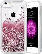 iPhone 6 6S 7 8 Case, Caka iPhone 6S Glitter Case with Tempered Glass Screen Protector Bling Flowing Floating Luxury Glitter Sparkle Soft TPU Liquid Case for iPhone 6 6S 7 8 (4.7 inch) (Rose Gold)