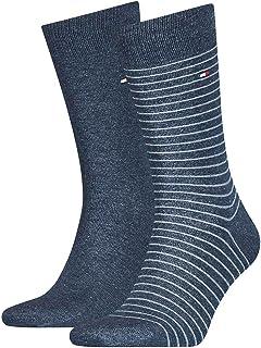 Tommy Hilfiger, Small Stripe Men's Socks (2 Pack) calcetines, pantalones vaqueros, 43/46 (Pack de 2) para Hombre