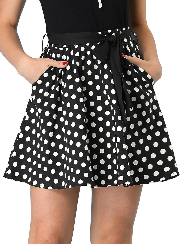 Allegra K Women's 1950s Vintage High Waist Belted A-Line Polka Dots Mini Skirt with Pockets